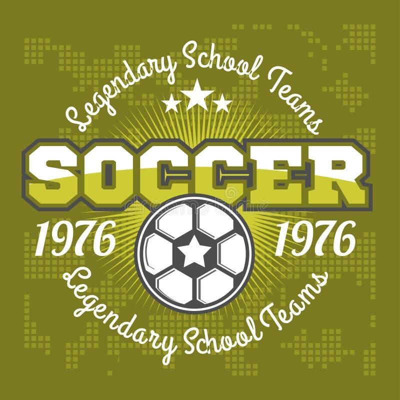 Het ontwerp van het het embleemmalplaatje van het voetbalkenteken, voetbalteam stock illustratie