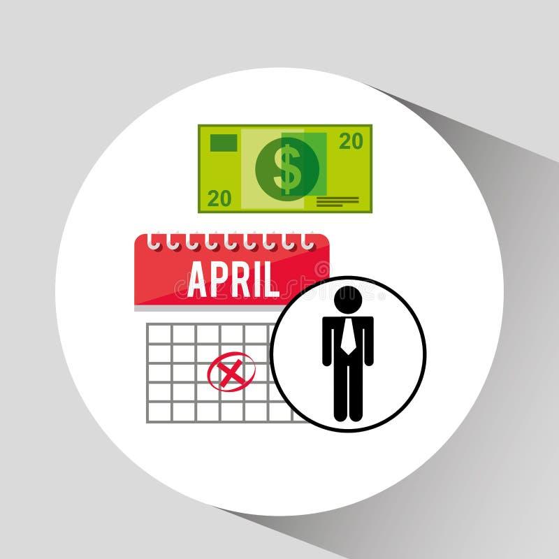 Het ontwerp van het het geldpictogram van bedrijfsmens planningsbelastingen vector illustratie