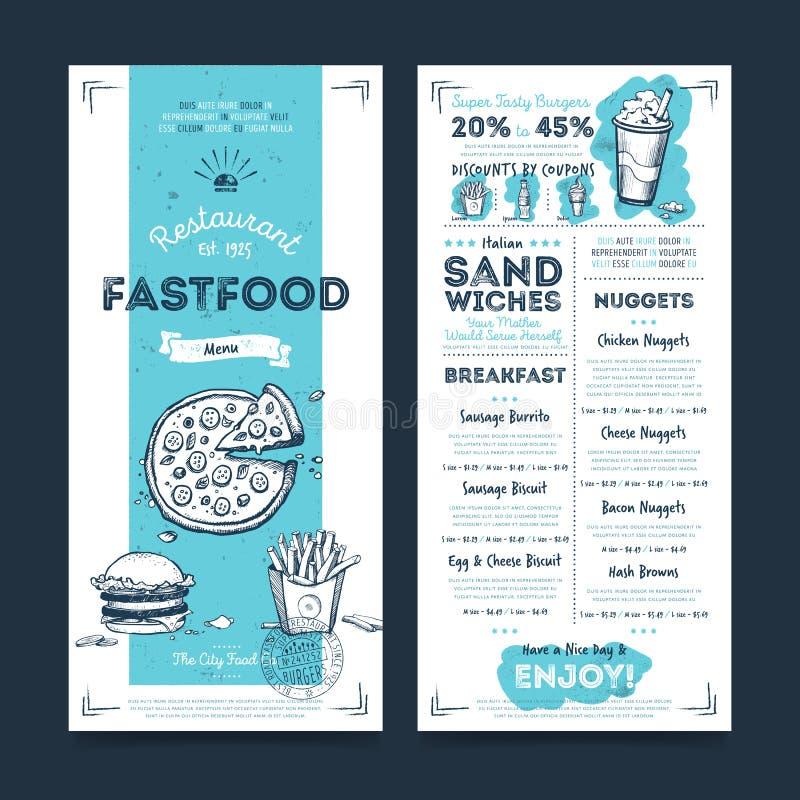 Het ontwerp van het het menumalplaatje van de restaurantkoffie, vector stock illustratie