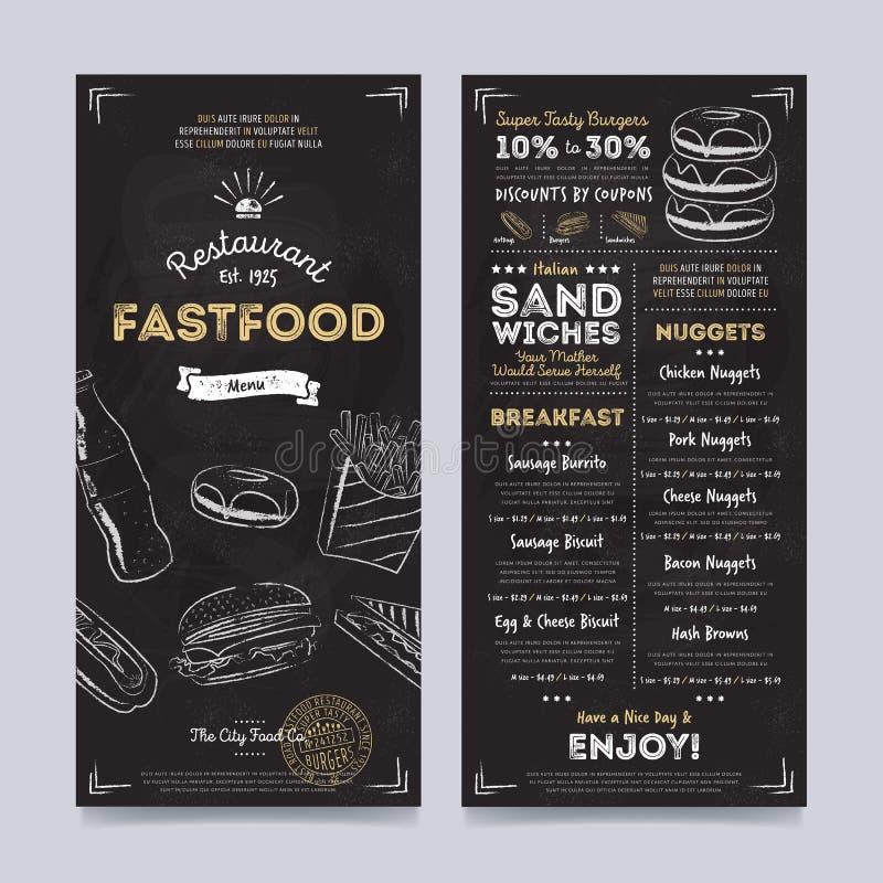 Het ontwerp van het het menumalplaatje van de restaurantkoffie, vector royalty-vrije illustratie