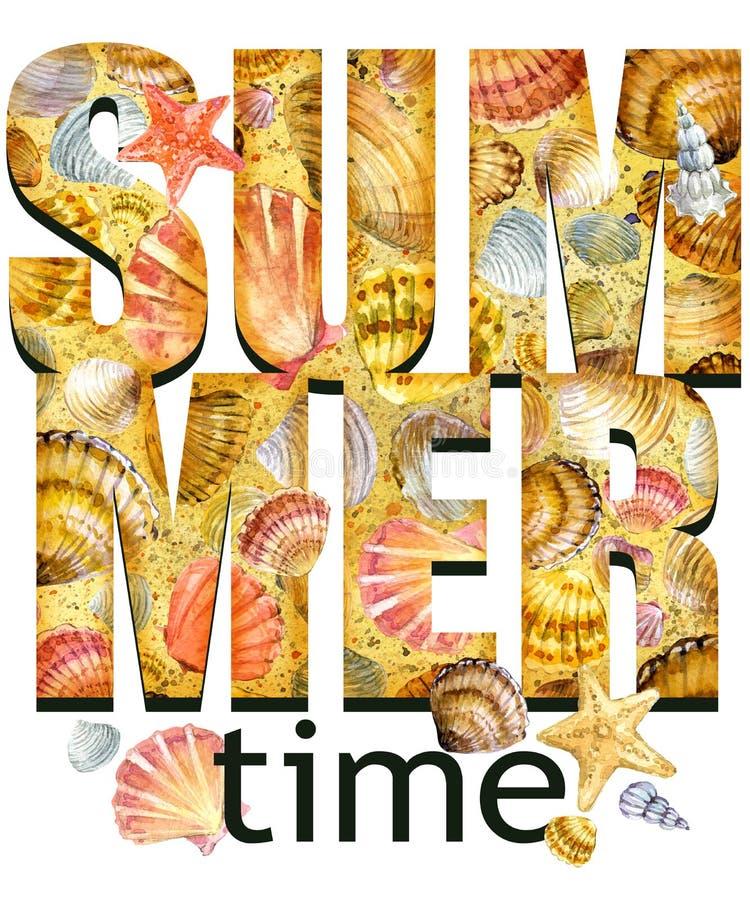 Het ontwerp van het het T-stukoverhemd van de de zomertijd Tropische installatiestextuur De tekst van de de zomertijd vector illustratie