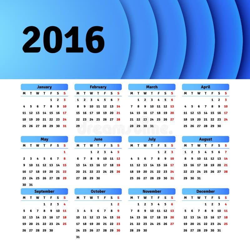 Het ontwerp van het kalender 2016 malplaatje met kopbalbeeld royalty-vrije illustratie