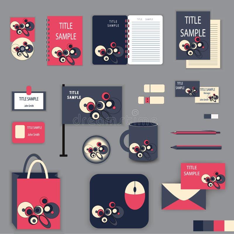 Het ontwerp van het kantoorbehoeftenmalplaatje met roze en grijze ornamentelementen royalty-vrije illustratie