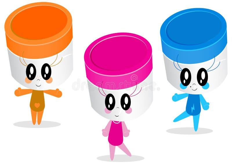Het ontwerp van het karakter van plastic kruiken of containers stock illustratie