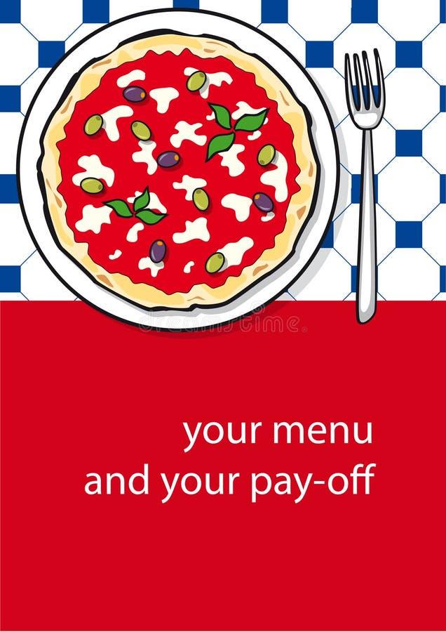 Het ontwerp van het malplaatje van pizzamenu royalty-vrije stock foto