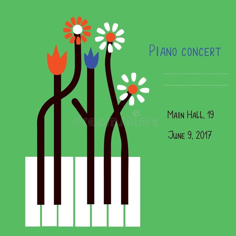 Het ontwerp van het pianooverleg van banner met sleutels en bloemen royalty-vrije illustratie