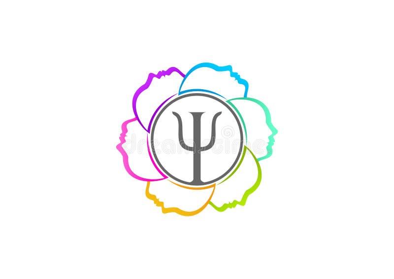 Het ontwerp van het psychologieembleem vector illustratie
