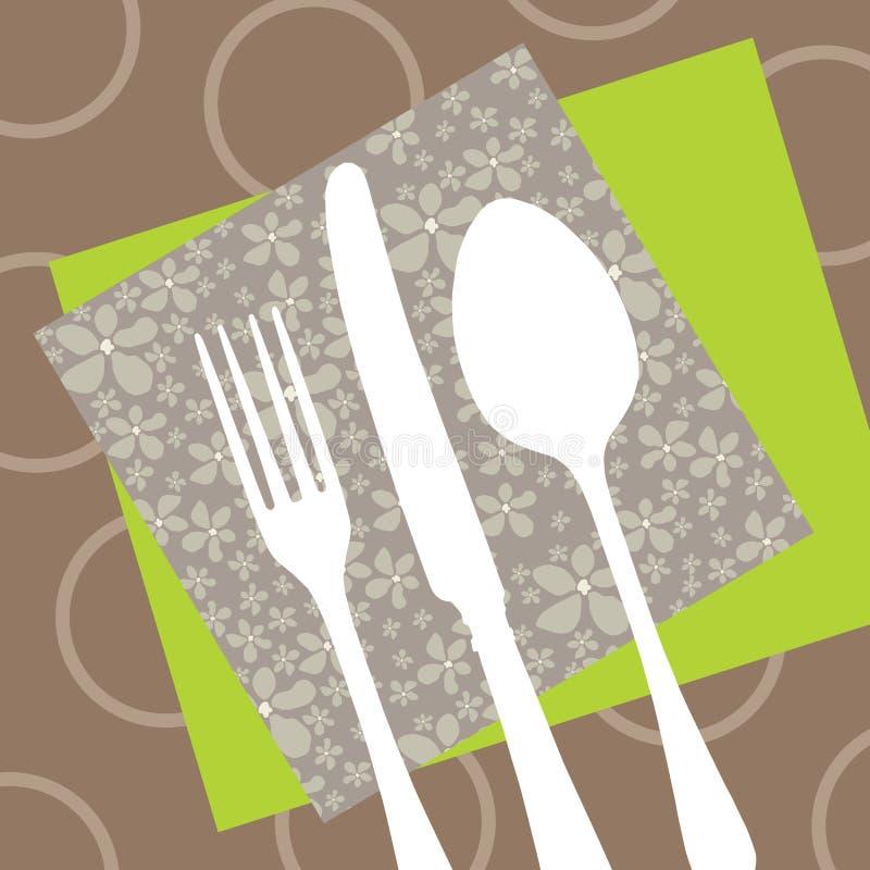 Het ontwerp van het restaurant met besteksilhouet vector illustratie