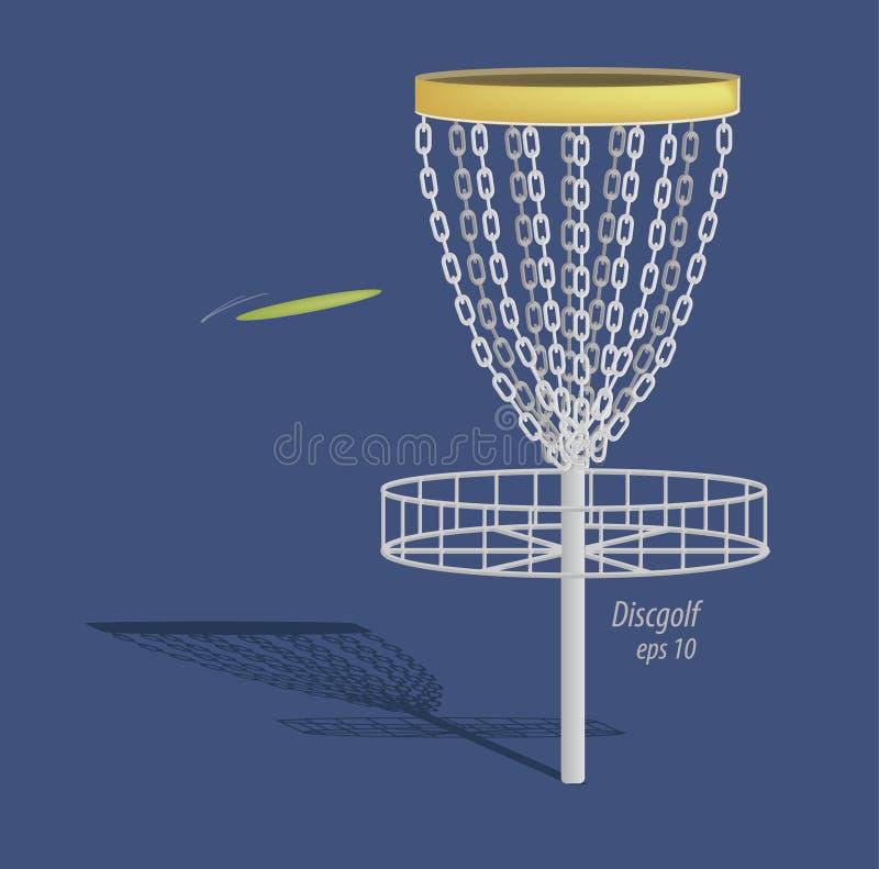 Het ontwerp van het schijfgolf - mand en frisbee stock illustratie