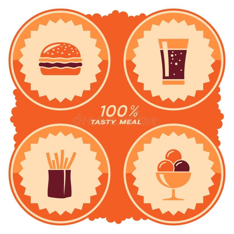 Het ontwerp van het snel voedseletiket royalty-vrije illustratie