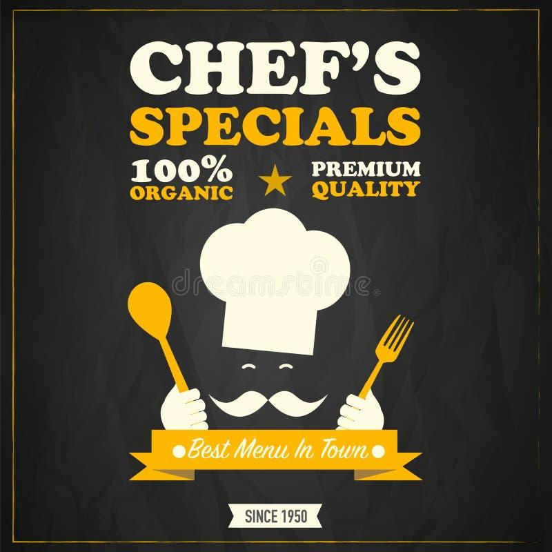 Het ontwerp van het specialsbord van de restaurantchef-kok stock illustratie