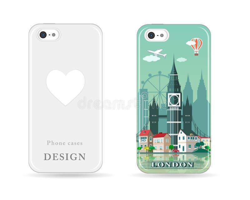 Het ontwerp van het telefoongeval met gekleurde druk Het moderne patroon van de de stadshorizon van Londen met vlak stijlontwerp  stock illustratie