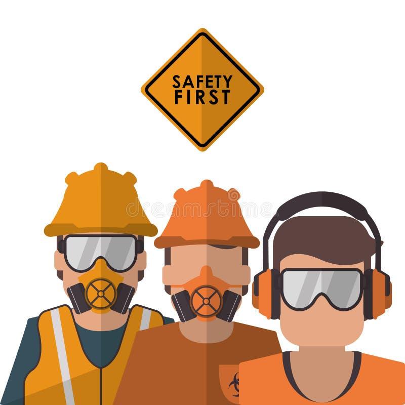 Het ontwerp van het veiligheids op het werk pictogram vector illustratie