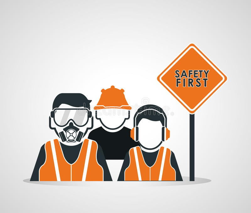 Het ontwerp van het veiligheids op het werk pictogram royalty-vrije illustratie