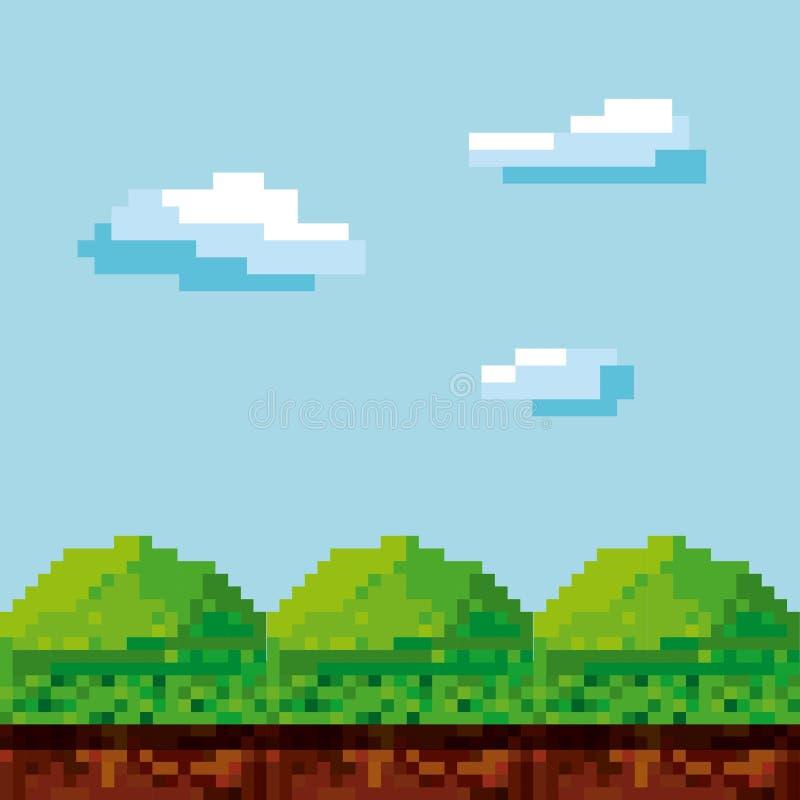 Het ontwerp van het videospelletjepixel royalty-vrije illustratie