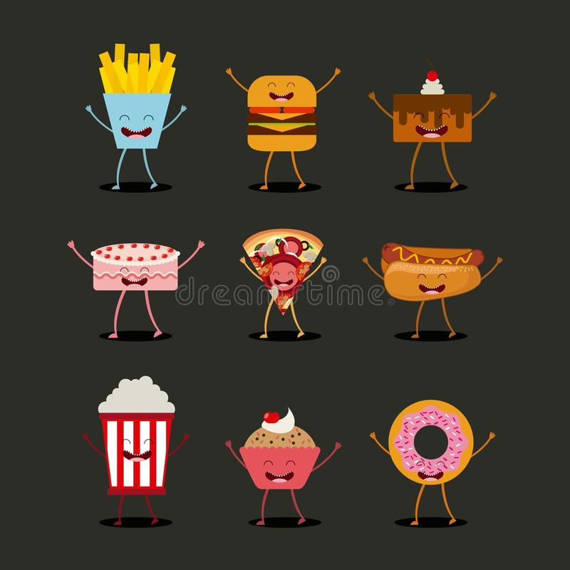 Het ontwerp van het voedselkarakter royalty-vrije illustratie