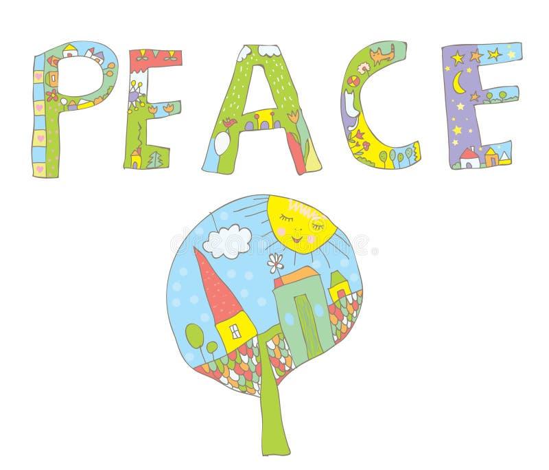 Het ontwerp van het vredeswoord met boom, bloemen, vogels stock illustratie