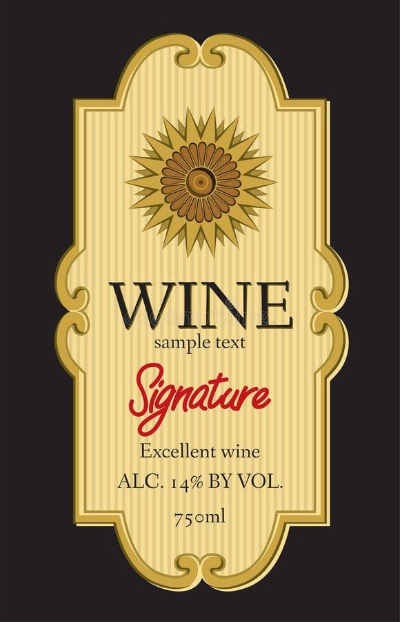 Het ontwerp van het wijnetiket royalty-vrije illustratie