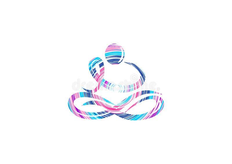 Het ontwerp van het yogaembleem stock illustratie