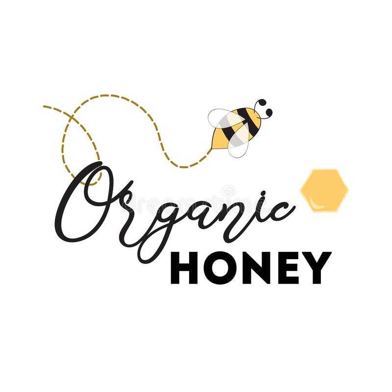 Het ontwerp van het honingsembleem voor bedrijf met bijenvector stock illustratie