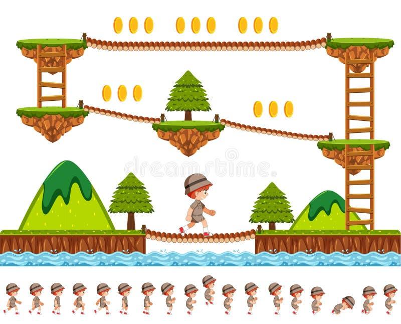 Het ontwerp van het houtspel met beeldverhaalkarakter stock illustratie