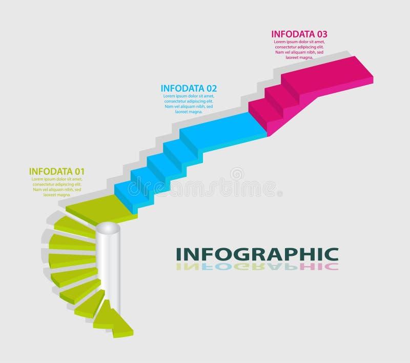 Het ontwerp van Infographic Het malplaatje van de informatiegrafiek 3 stappen, strategieën of bedrijfsprocessen royalty-vrije illustratie