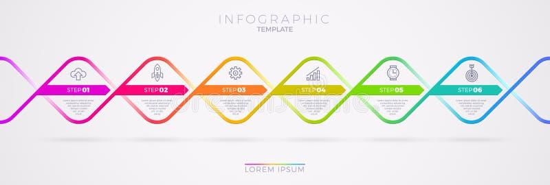 Het ontwerp van het Infographicmalplaatje met bedrijfspictogrammen Stroomgrafiek witn zes opties of stappen Infographic Bedrijfsc stock illustratie