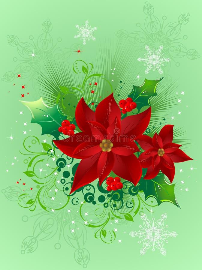 Het ontwerp van Kerstmis met decoratieve bloemen vector illustratie