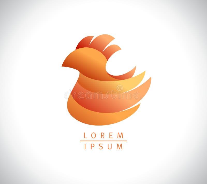 Het ontwerp van het kippenembleem, kippenteken, landbouwsymbool vector illustratie