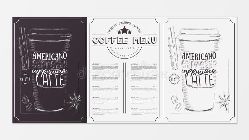 Het ontwerp van het koffiemenu royalty-vrije illustratie