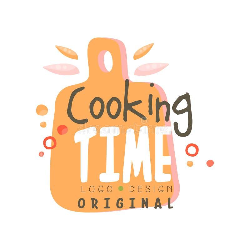 Het ontwerp van het kooktijdembleem, keukenembleem met scherpe raad kan voor culinaire klasse, cursus, getrokken schoolhand worde stock illustratie