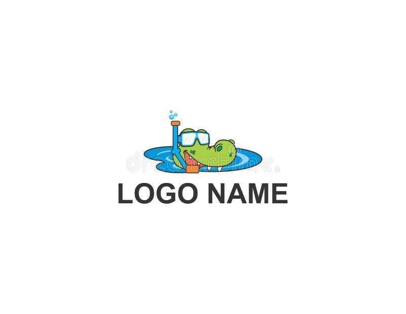 Het ontwerp van het krokodilembleem stock afbeelding