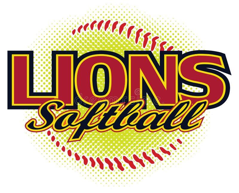 Het Ontwerp van het leeuwensoftball stock illustratie