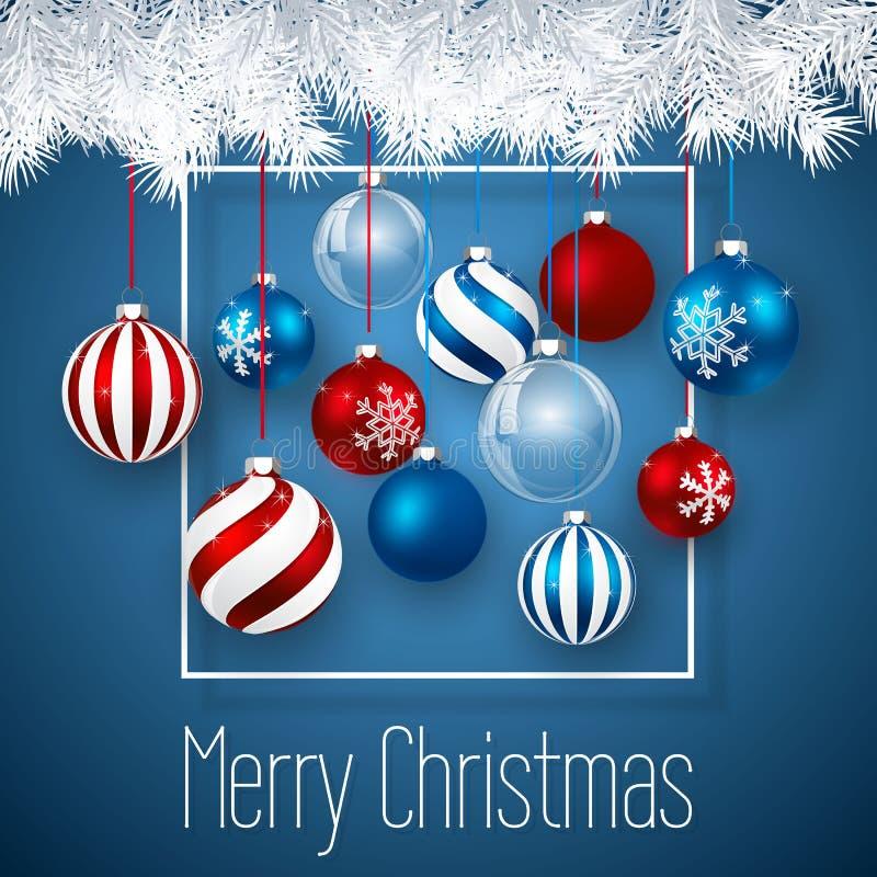 Het ontwerp van luxekerstmis met de blauwe rode Kerstmisballen en bal van het Kerstmisglas over blauwe achtergrond Het malplaatje royalty-vrije illustratie