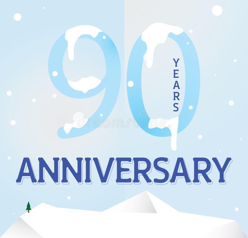 Het ontwerp van het negentig verjaardagsmalplaatje voor Web stock illustratie