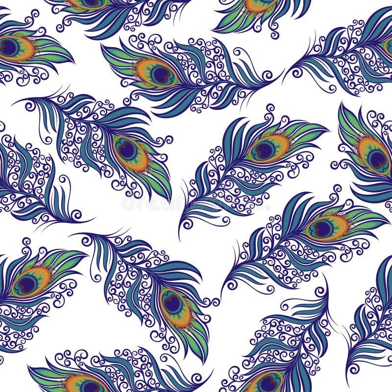 Het ontwerp van pauwveren Vector naadloos patroon stock illustratie