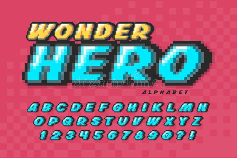 Het ontwerp van het pixelvectorlettertype, het super alfabet van de heldenstijl vector illustratie
