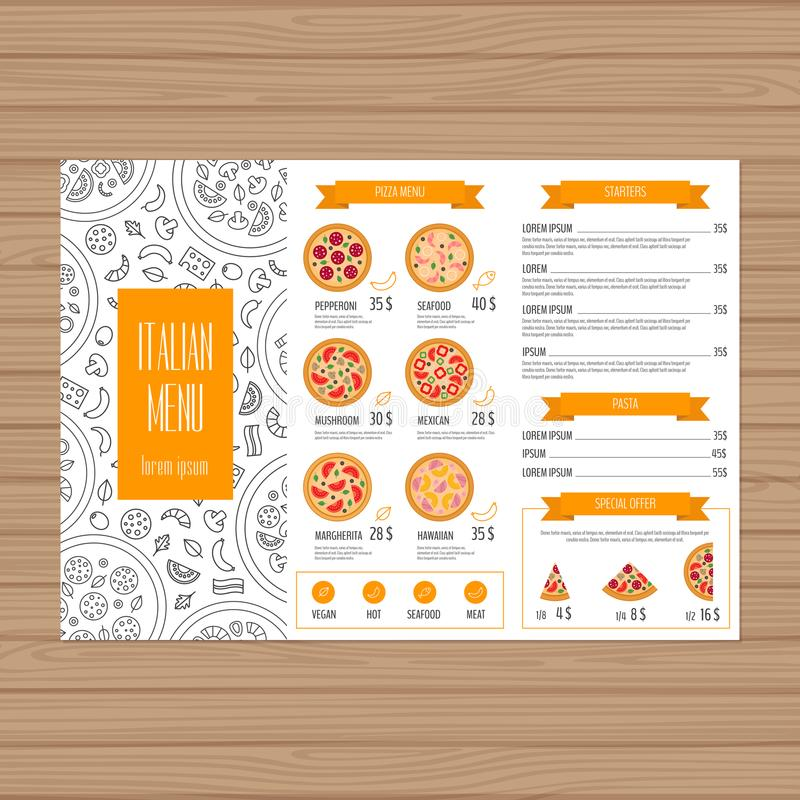 Het ontwerp van het pizzamenu De lay-outmalplaatje van het Trifoldpamflet Restaurant vector illustratie