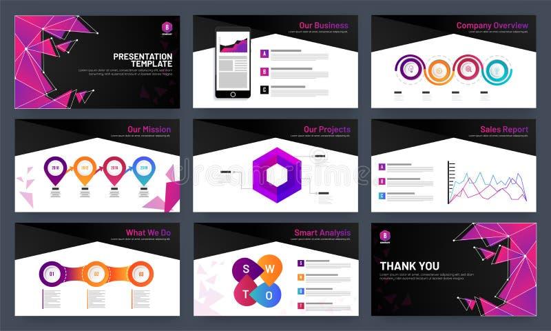 Het ontwerp van het presentatiemalplaatje met infocharts en analytische gegevens vector illustratie