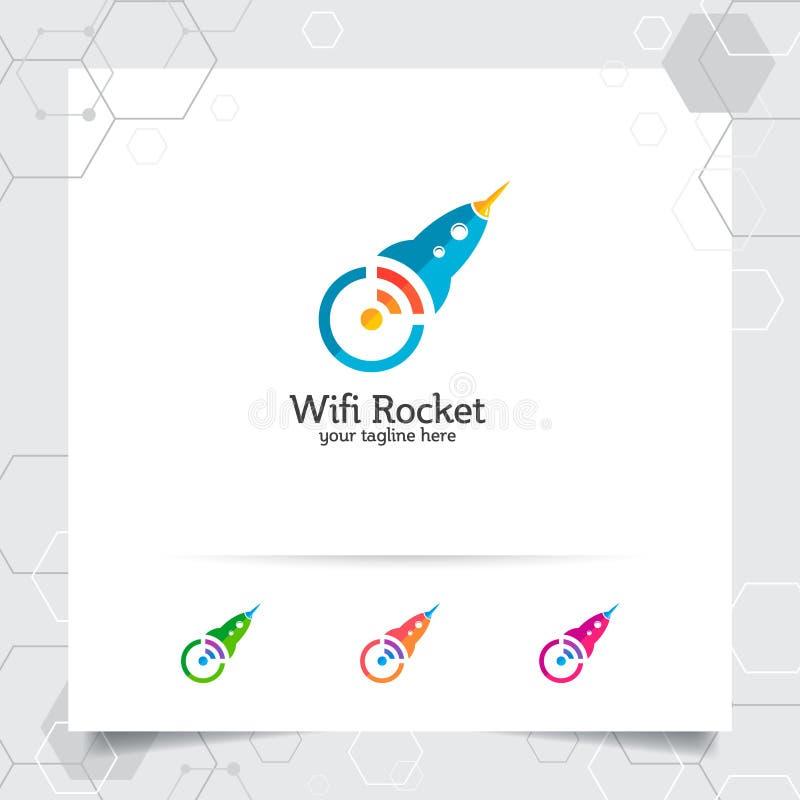 Het ontwerp van het raketembleem met voorzien van een netwerkconcept en raketpictogram Draadloze raketvector die voor app, techno stock illustratie