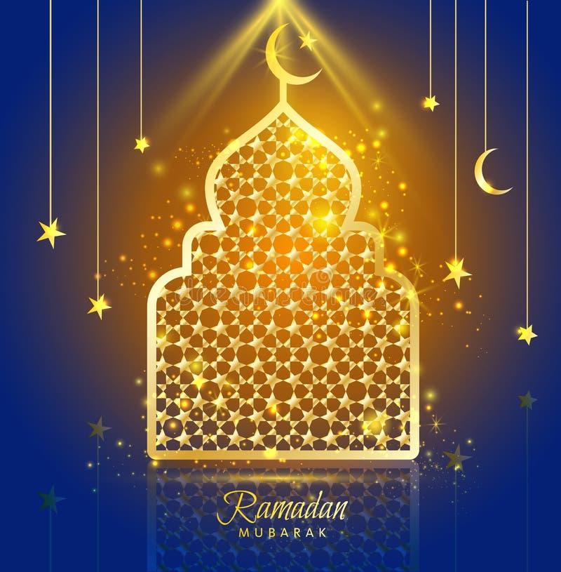 Het ontwerp van Ramadan Kareem van de groetkaart met silhouetmoskee vector illustratie