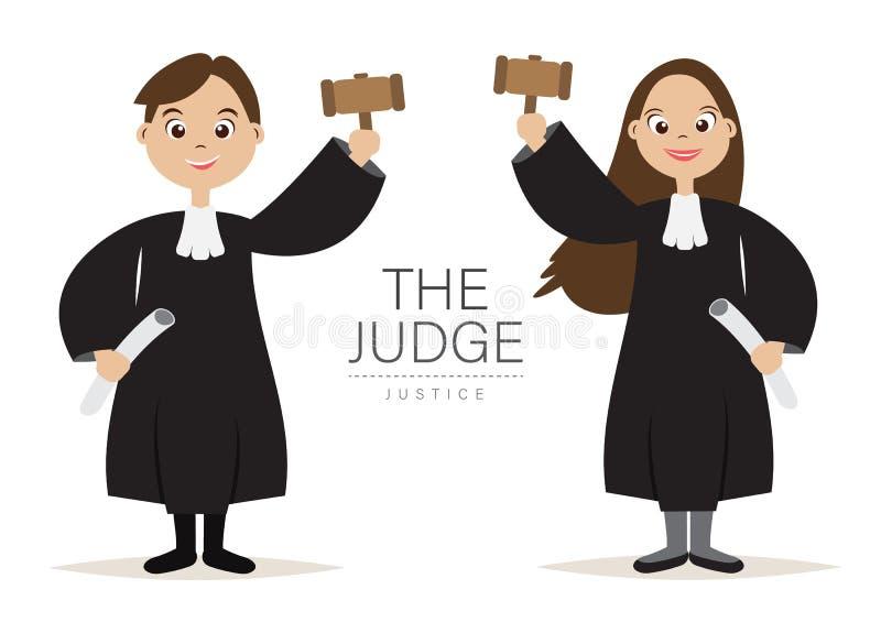 Het ontwerp van Rechterscartoon character met Greep de hamer voor Rechter en Rechtvaardigheid, vector illustratie