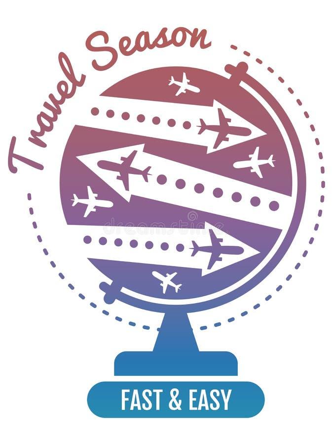 Het ontwerp van het reisembleem - luchtvlieg en de banner van de bolvakantie stock illustratie