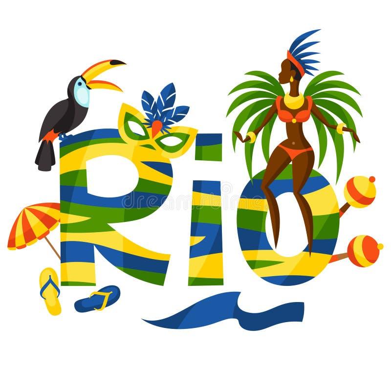 Het ontwerp van Rio met voorwerpen op witte achtergrond stock illustratie