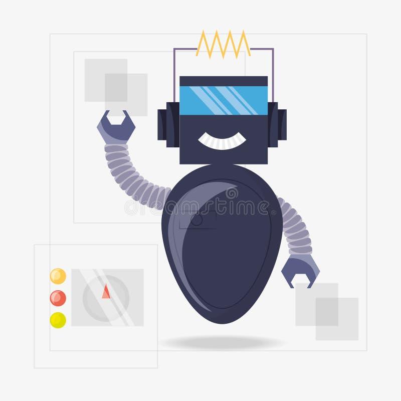 het ontwerp van het robotbeeldverhaal royalty-vrije illustratie