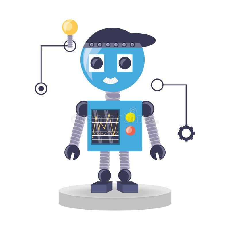 het ontwerp van het robotbeeldverhaal vector illustratie