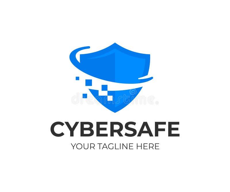 Het ontwerp van het het schildembleem van de Cyberveiligheid Informatie en van de netwerkbescherming vectorontwerp stock illustratie