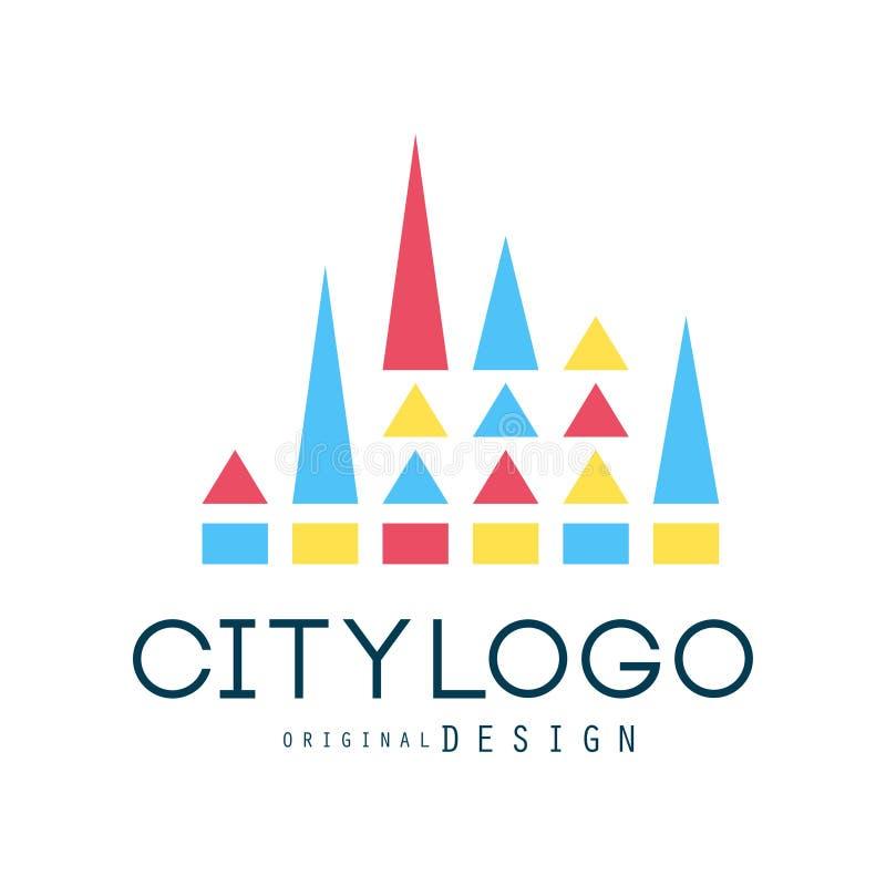 Het ontwerp van het stadsembleem, vat geometrisch element, in kleur en kleurrijke vectorillustratie van de vorm de vectorillustra vector illustratie