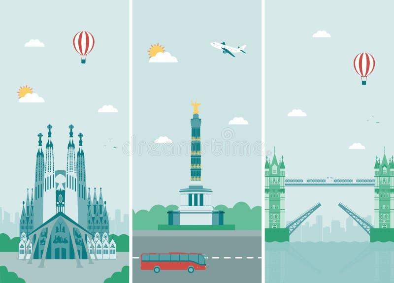 Het ontwerp van stedenhorizonnen met oriëntatiepunten Het ontwerp van de stedenhorizonnen van Londen, van Berlijn en van Barcelon royalty-vrije illustratie