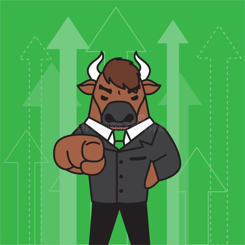 Het ontwerp van het stierenkarakter Voorraadconcept royalty-vrije illustratie